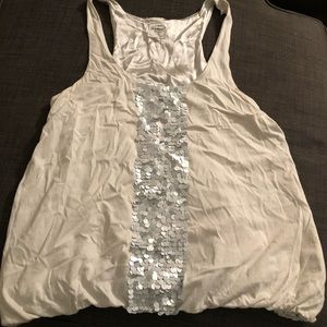 J Crew Sleveless Silver Blouse with Sequins